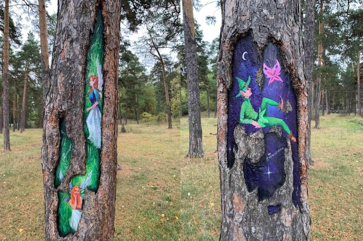 Металлурги рисуют фэнтези на деревьях