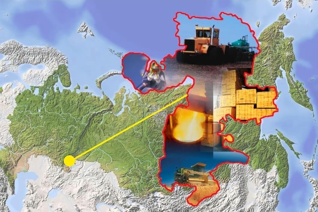 Челябинская область на фоне России