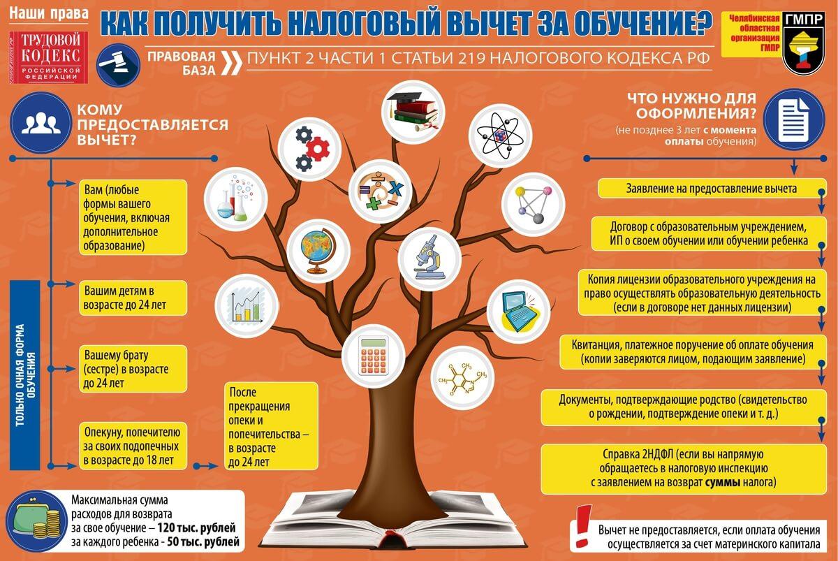 Инфографика: как получить налоговый вычет за обучение